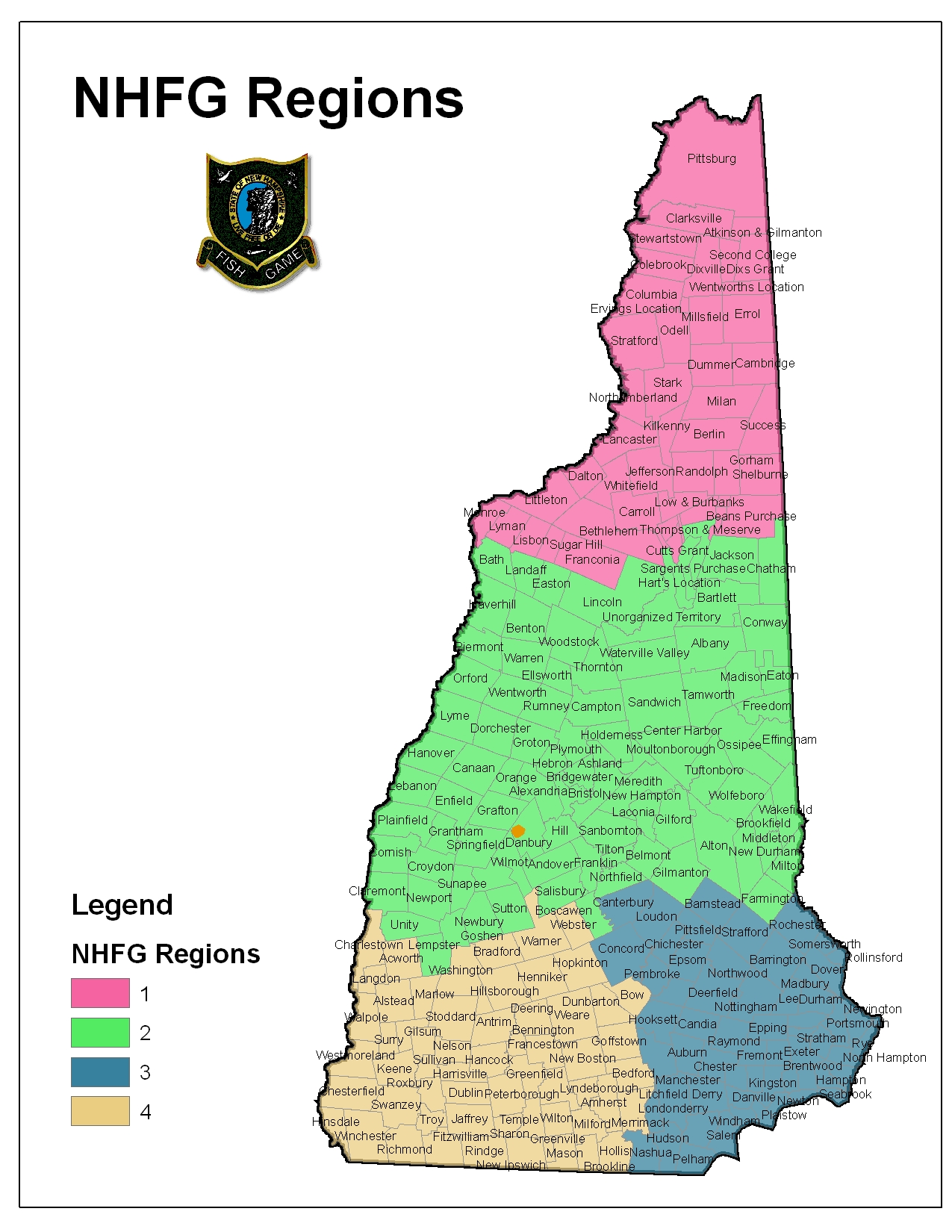Regional offices new hampshire fish and game department for Fish and game jobs
