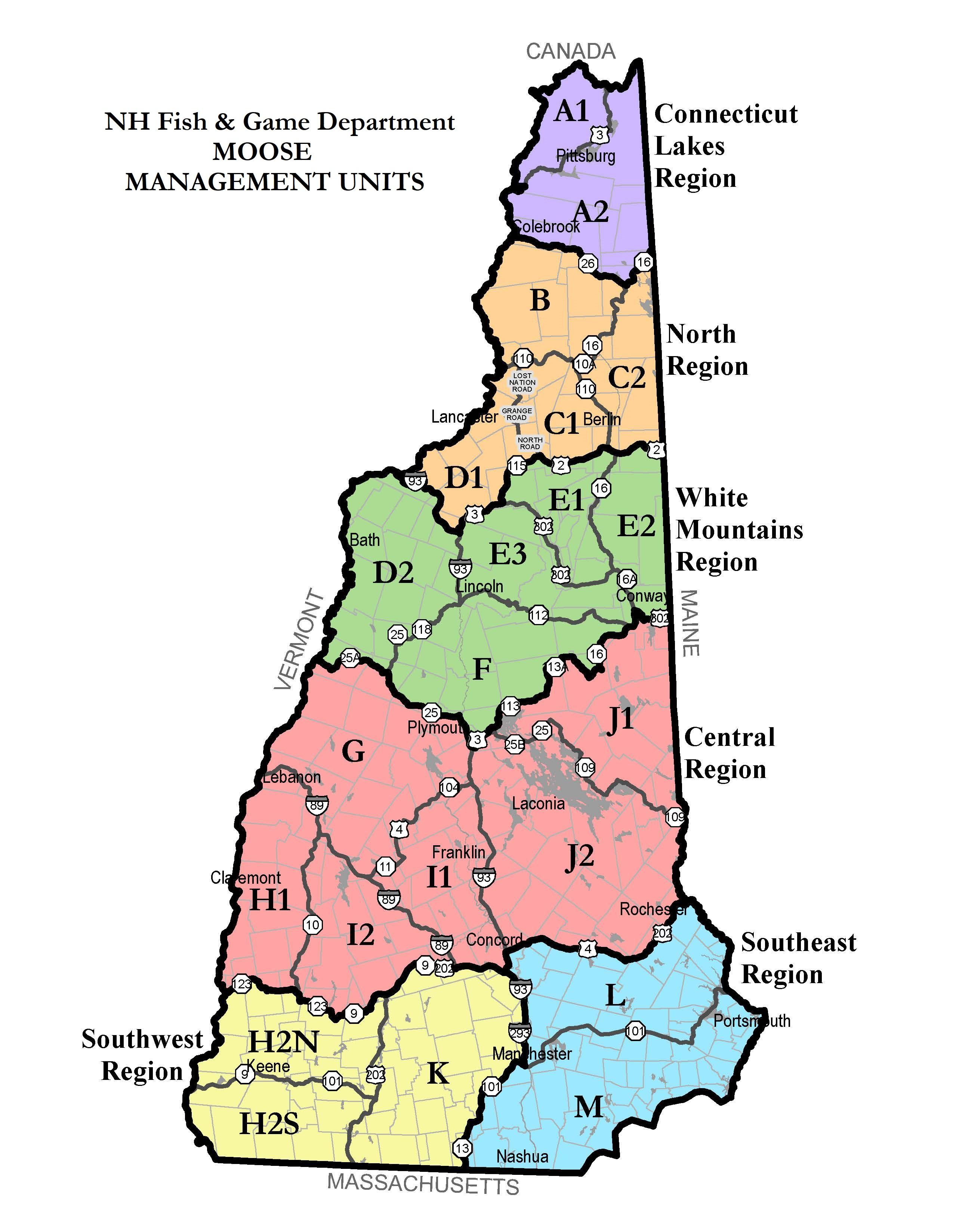 NH Moose Hunting Units Map   Hunting   New Hampshire Fish ... on map of southern new hampshire, map of strafford county new hampshire, map of wolfeboro new hampshire, map of kentucky, map of maryland, map of new hampshire towns, map of cheshire county new hampshire, map of cl, map of white mountains, map of connecticut, map of gh, map of vt, map of ny, map of ma, map of me, map of charlestown new hampshire, map of nm, map of great north woods, map of canada, map of nc,