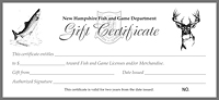 Gift certificates shop fish and game gift certificate for Nh fish and game license